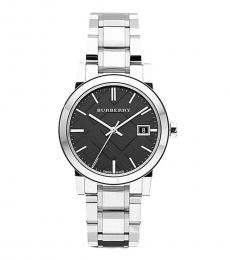 Burberry Silver Large Check Black Dial Watch