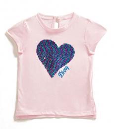 Little Girls Cradle Pink Textured Heart T-Shirt