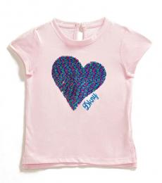 DKNY Little Girls Cradle Pink Textured Heart T-Shirt