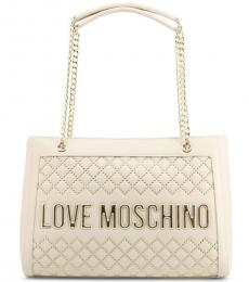 Love Moschino White Studded Large Tote
