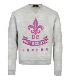 Dsquared2 Grey Crewneck Printed Sweatshirt