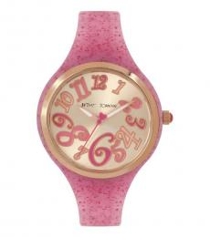 Betsey Johnson Pink Glitter Band Watch