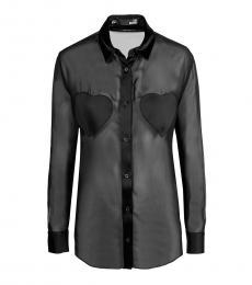Love Moschino Black Sheer Solid Shirt
