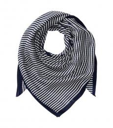 Michael Kors Navy Thin Striped Square Scarf