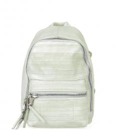 Light Green Textured Small Backpack