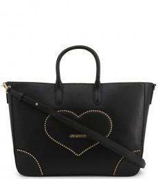 Black Studded Heart Large Satchel