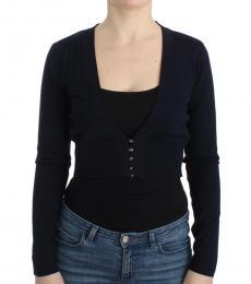 Cavalli Class Black Cropped Wool Cardigan