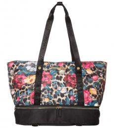 Black Floral Large Tote