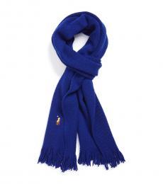 Ralph Lauren Blue Wool Logo Scarf