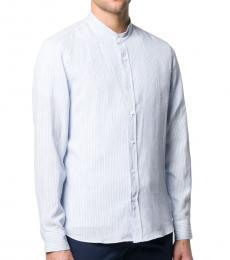 Brunello Cucinelli Light Blue Linen Slim Fit Shirt