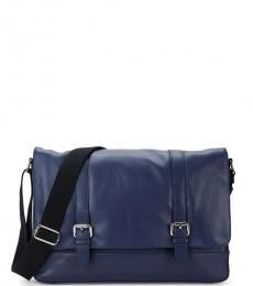 Navy Double Buckle Large Messenger Bag