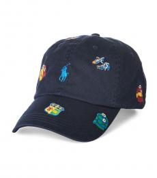 Ralph Lauren Navy Blue Rugby Embroidered Baseball Cap