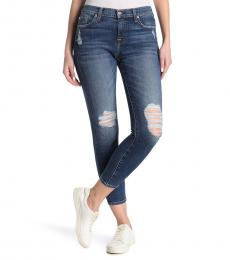 7 For All Mankind Denim Distressed Ankle Skinny Jeans