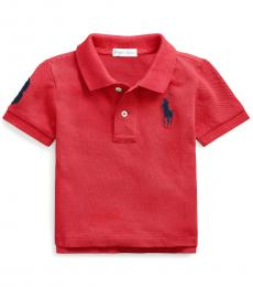 Ralph Lauren Baby Boys Sunrise Red Mesh Polo