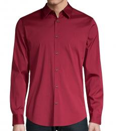 Calvin Klein Deep Lava Slim-Fit Long-Sleeve Shirt