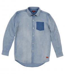 7 For All Mankind Boys Blue Long Sleeve Denim Shirt