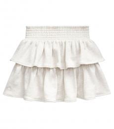Ralph Lauren Little Girls Cream Ruffled Atlantic Terry Skirt