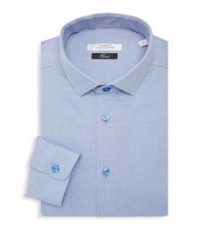 Versace Collection Light Blue Textured Dress Shirt