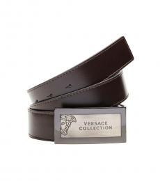 Versace Collection Brown Medusa Logo Buckle Belt