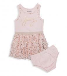 Little Girls Pink Heart-Print Dress