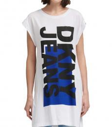 DKNY White Side Slit Logo Tunic Top