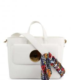 Love Moschino White Graphic Strap Medium Satchel