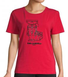 Karl Lagerfeld Admiral Red Logo Choupette Graphic T-Shirt
