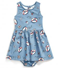 Ralph Lauren Baby Girls Blue Nautical Fit-and-Flare Dress