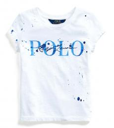 Ralph Lauren Little Girls White Paint-Splatter T-Shirt