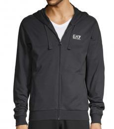 Solid Blue Cotton Hooded Sweatshirt
