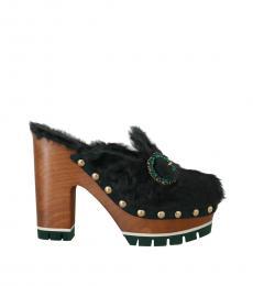 Black Green Xiangao Fur Heels