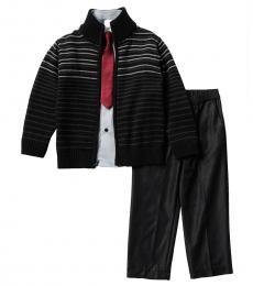 Calvin Klein 4 Piece Sweater/Shirt/Tie Clip/Pants Shorts Set (Little Boys)