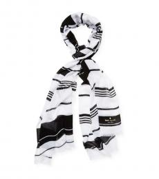 Kate Spade White-Black Oblong Scarf