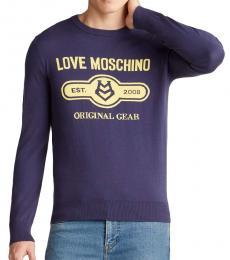 Dark Blue Solid Logo Sweater