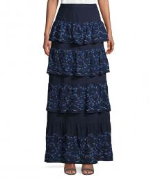 BCBGMaxazria Navy Blue Eyelet Long Tiered Skirt
