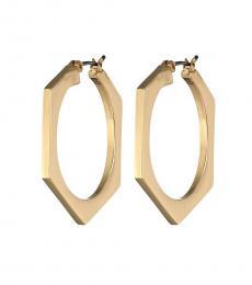 Ralph Lauren Gold Hexagon Hoop Earrings