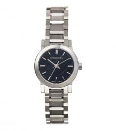 Burberry Silver Black Dial Watch