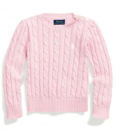 Ralph Lauren Little Girls Carmel Pink Cable-Knit Sweater