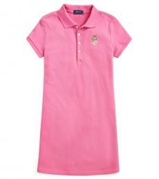 Ralph Lauren Girls Pink Madras Bear Mesh Polo Dress