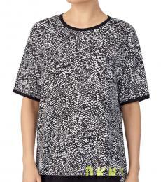 Black Print Abstract-Print Pajama T-Shirt