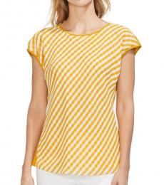 Vince Camuto Yellow Gingham Front Cap Sleeve Top