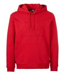 Love Moschino Red Embossed Logo Hoodie