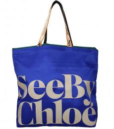 See by Chloe Blue Logo Extra Large Tote