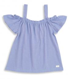 7 For All Mankind Little Girls Blue Off-The-Shoulder Top