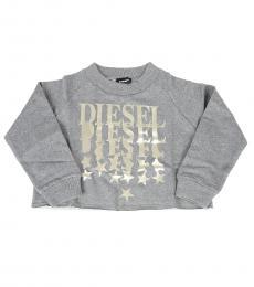 Diesel Little Girls Grey Graphic Sweatshirt