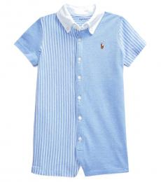 Ralph Lauren Baby Boys Blue/White Knit Oxford Fun Shortall