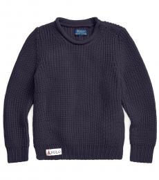 Little Girls Navy Rollneck Sweater
