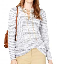 Michael Kors Shore Blue Chain Lace-Up Tunic Pullover