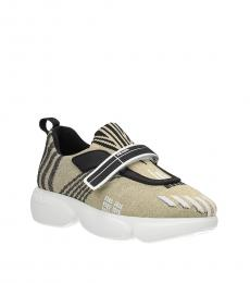 Prada Gold Velcro Closure Sneakers
