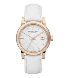 Burberry White-Rose Gold Check Dial Watch